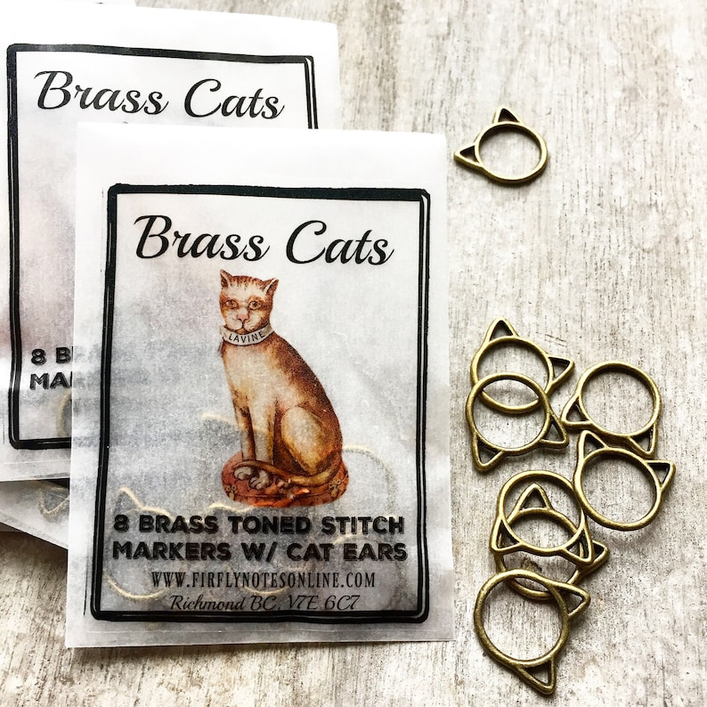 Large Cat stitch markers Brass cats image 0