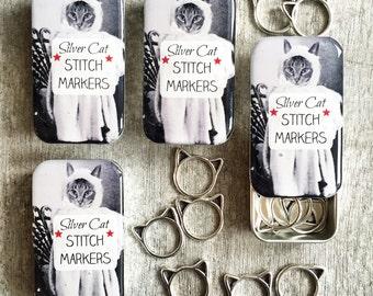 Cat Stitch Marker Tin with cat stitch markers