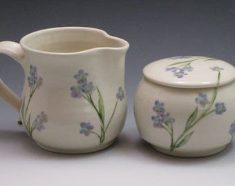 Porcelain pottery sugar and creamer set, handmade and handpainted with forget-me-nots