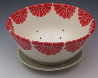 Porcelain Berry Bowl, pottery colander with plate, handthrown and handpainted in red flower design