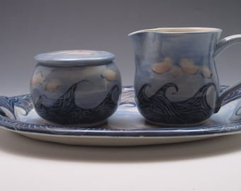 RESERVED for Stephanie - Porcelain sugar and creamer set on serving tray, hand thrown and hand painted in wave design