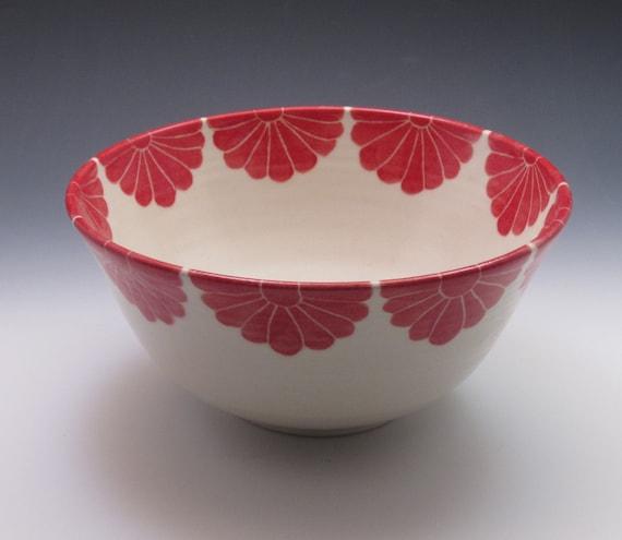 Pottery serving bowl  ceramic bowl in hydrangea design