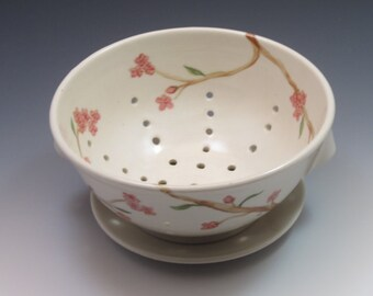 Porcelain Berry Bowl, pottery colander with plate, handthrown and handpainted in cherry blossom design