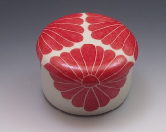 Ceramic French Butter Dish / Butter Keeper / Hand made in porcelain with Red Flower Design