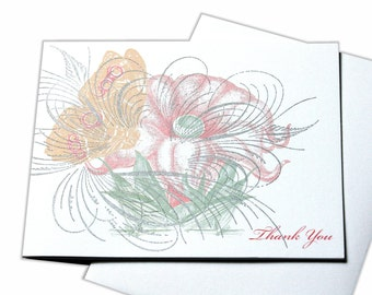 Thank You Flower and Butterfly Blank Letterpress Card