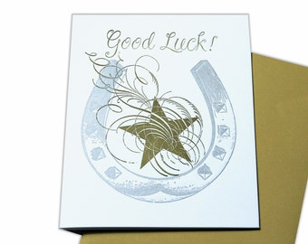 Good Luck Horseshoe Blank Letterpress Card with silver and gold