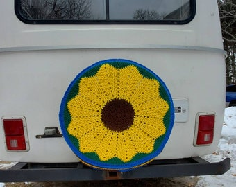 Tire Sweater! Hand Made Sunflower (or any flower) Spare Tire Cover FREE SHIPPING!!!
