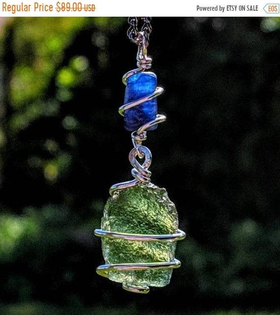 MOLDAVITE & KYANITE Necklace Wire Wrap 925 Silver! CHARGED Metaphysical  Reiki Amulet Synergy 12 Genuine Crystal Pendant Tektite Meteorite!