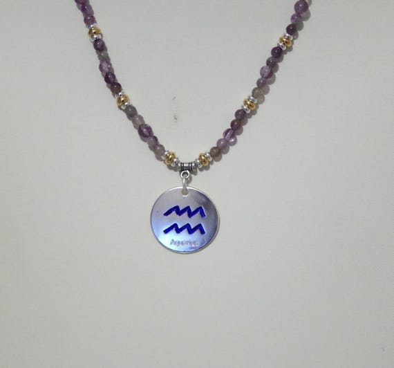 Gemstone Necklace With Zodiac Pendant All Signs Available
