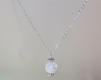 Gemstone Birthstone Necklace - Sterling Silver Filled Necklace - 10mm Ice Flake Quartz Shown