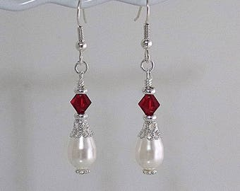 Swarovski Pearl & Crystal Bridal Earrings - Made to Order in Any Colors - Wedding, Bridal, Prom, Party, Dress, Bridesmaids, Bride, MOH