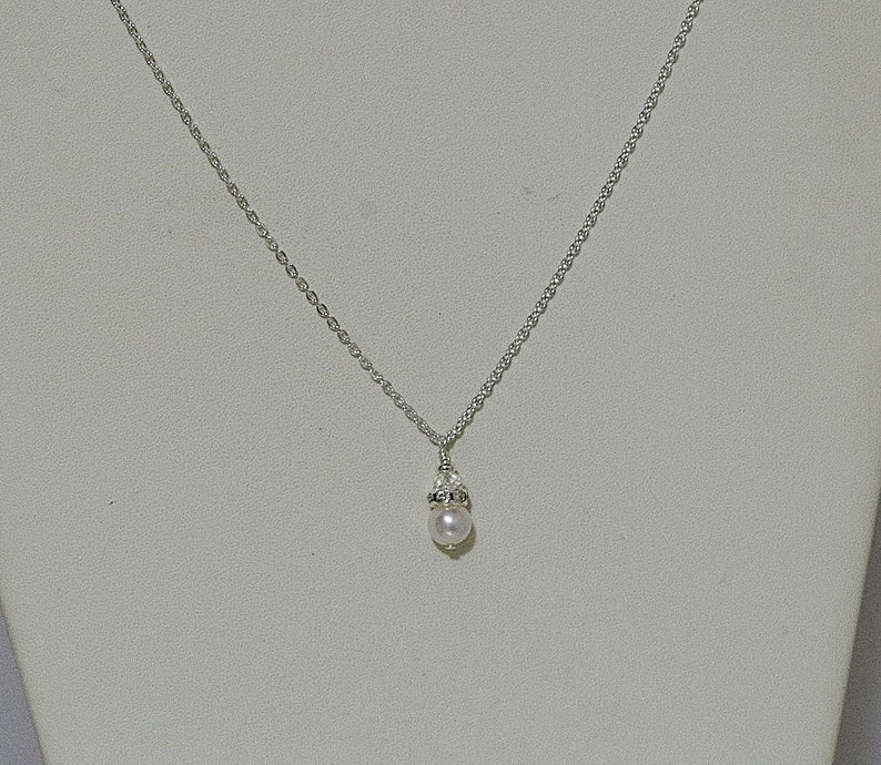 160b6e069a0d Freshwater Pearl   Swarovski Crystal Drop Necklace Wedding