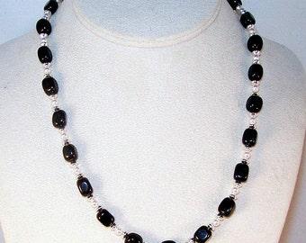 Gemstone and Swarovski Pearls Jewelry - Black Onyx and Swarovski Pearls Necklace