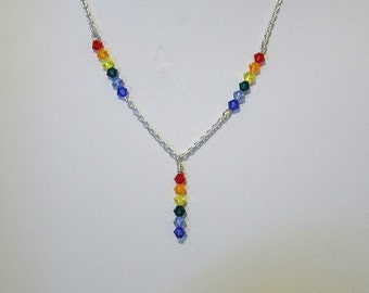 """Swarovski Crystal Rainbow Necklace - Several Colors Available - 18"""" Long"""