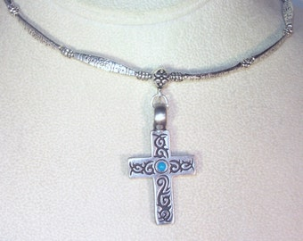 Brushed Pewter Cross Necklace - Turquoise