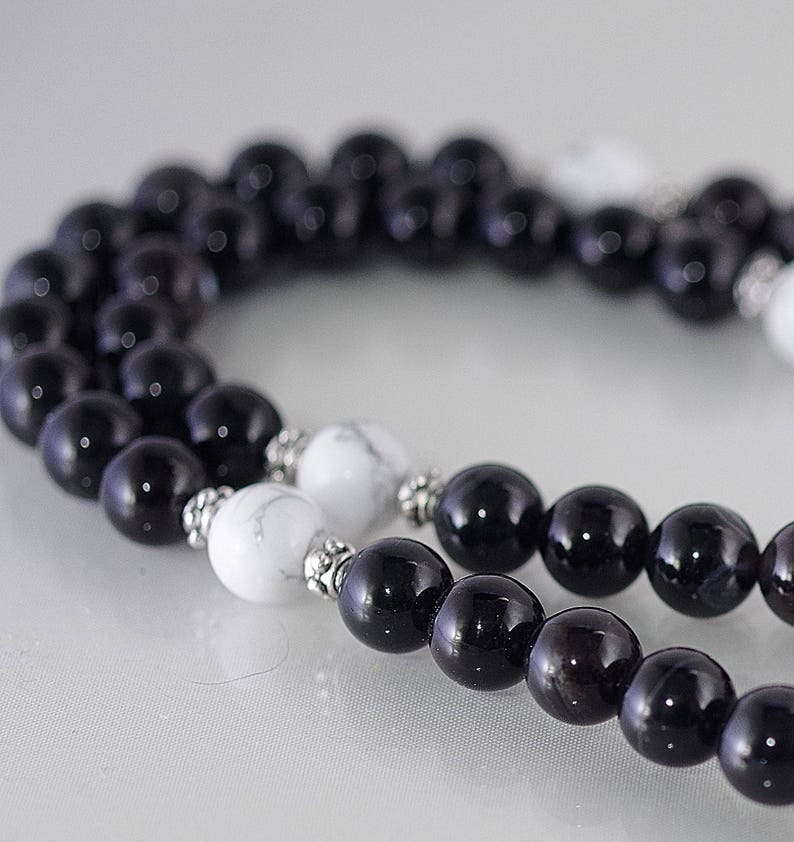 Gemstone Rosary Style Necklace Shown with Black Agate /& White Magnesite Stainless Steel Cross 33 long above cross