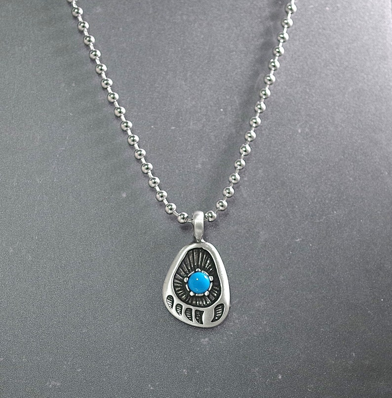 Turquoise Center Cabochon Three length choices Pewter Bear Paw Pendant on Ball Chain Necklace UNISEX