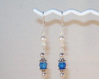 Blue Topaz Swarovski Crystal And Pearl Earrings