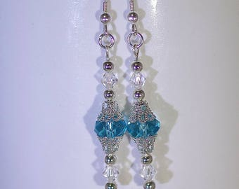 Swarovski Crystal Earrings - Sterling Silver Earwires - Available in Several Colors - Shown in Aquamarine