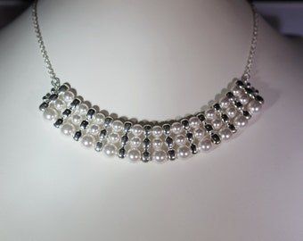 Swarovski Pearl Necklace - Triple Strand - Adjustable - Silver with Any Color Pearl