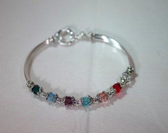 Swarovski Crystal Jewelry -  Mothers or Grandmothers Bracelet - Single-Strand - Up To 7 Crystals / Birthstones