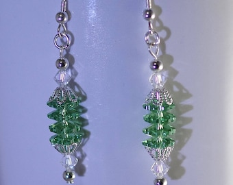 Swarovski Crystal Earrings - Sterling Silver Earwires - Available in Several Colors - Shown in Peridot