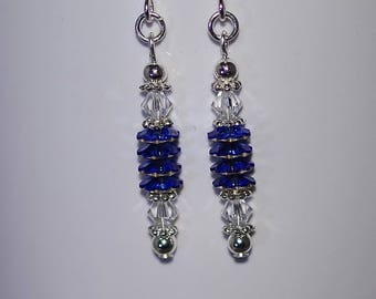 Swarovski Crystal Earrings - Sterling Silver Earwires - Available in Several Colors - Shown in Sapphire