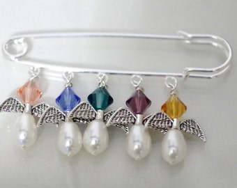 Grandma's Angels - Bragging Pin - Up to 5 Birthstones - Swarovski Crystals and Swarovski Pearls