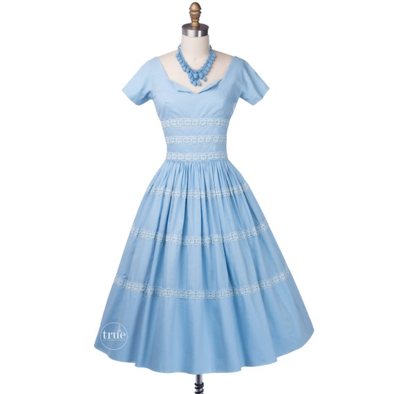 vintage 1950's dress ...pretty blue cotton Gigi Yo
