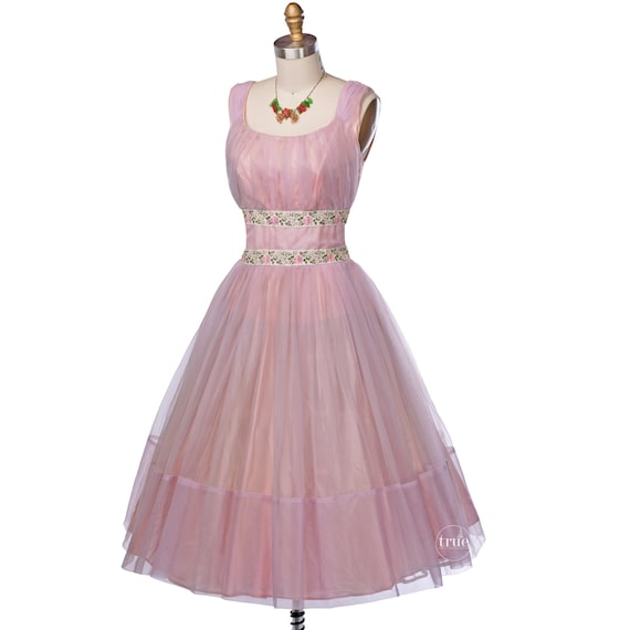 vintage 1950's dress ...floaty pink chiffon embroi