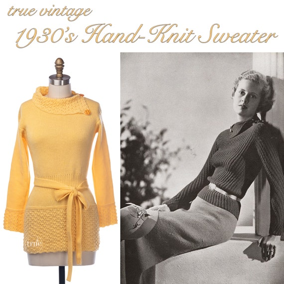 vintage 1930's sweater ...fabulous dandelion yello