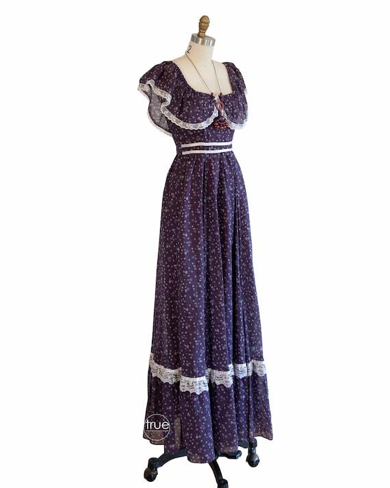 vintage 1970's dress ...plum calico GUNNE SAX pra… - image 2