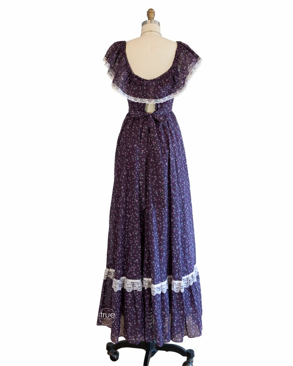 vintage 1970's dress ...plum calico GUNNE SAX pra… - image 3