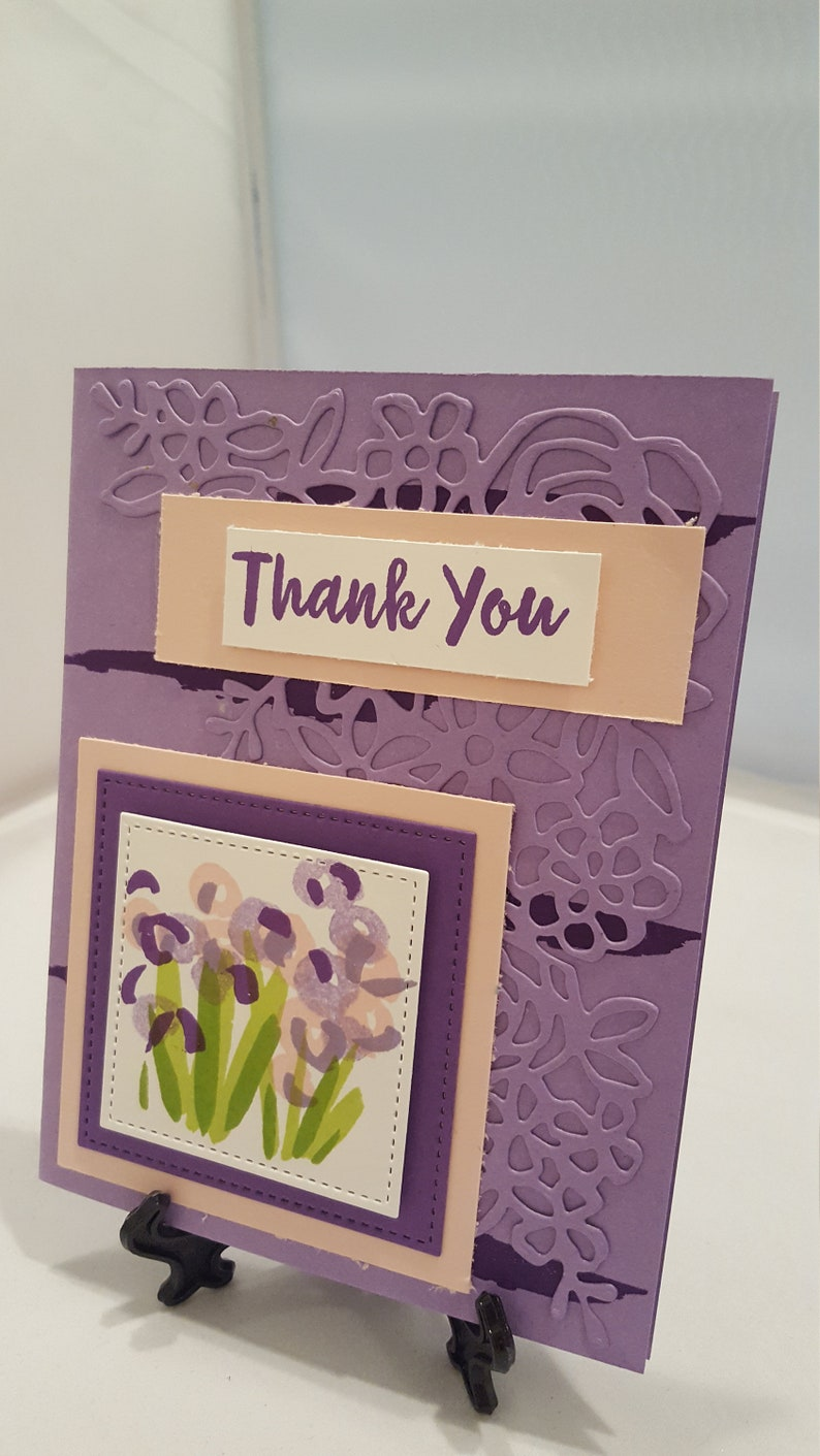 Thank You Card Purple Floral