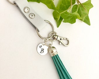 Leather Key Clip - Leather Keychain - Personalized Key Clip - Leather Key Chain - Hand Stamped Name or Monogram - Leather Tassel Key Clip