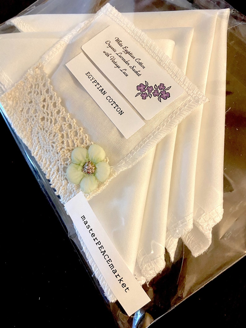 with Organic Lavender SACHET Hankies Hankerchiefs women 4 EGYPTIAN COTTON Handkerchief Women Hanky