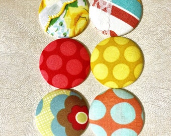 BIG MAGNETS - 6 Large Fabric Button Magnets - Fabric Covered Button Magnets - Refrigerator Magnets - Office Magnets - Retro Kitchen