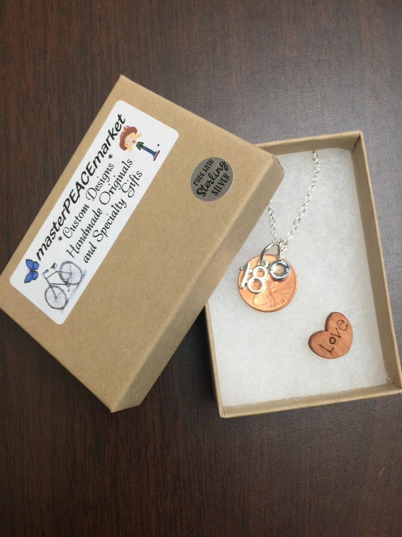 Gift for Her Gift for Him -Birthday gift for her Birthday Penny Keychain Necklace