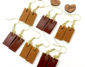 Leather Bar Earrings, Petite Leather Bar Earrings, Dainty Leather Bar Earrings, Tiny Leather Earrings, Joanna Gaines Inspired