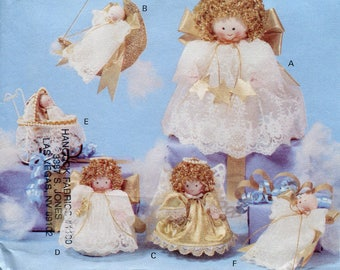 Vintage Angel Dolls Sewing Pattern Cute Miniature Angels Craft Christmas Decor Butterick 3596 Tree Topper Stocking Stuffers Tiny Angels