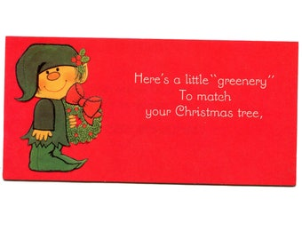 vintage christmas money card 1970s cute elf red money check holder kids christmas gift a little greenery merry christmas hallmark - Christmas Card Money Holder