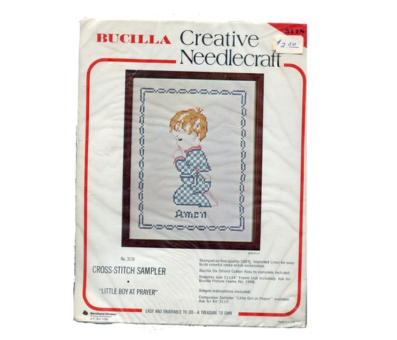 "Bucilla ANGEL BABIES Bedtime Prayer Linen 15/"" Angel Doll Cross Stitch Kit"