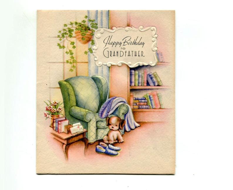 7d86fcf79 1950s Birthday Card Grandfather Bookshelf Puppy Slippers Pipe | Etsy