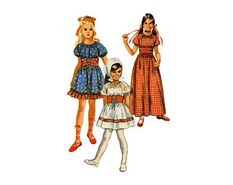 1970s Girls Peasant Dress Pattern Lace Up Midriff Puff Sleeves Fairy Tale Costume Snow White Simplicity 9244 Size 8 Vintage Sewing Pattern