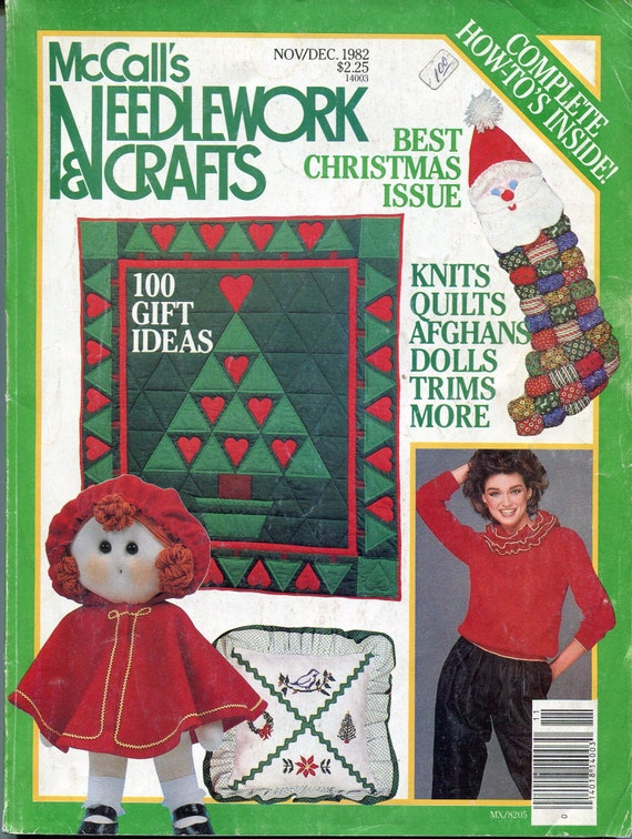 Mccalls Christmas Needlework And Crafts Sewing Crochet Knitting Patterns 1982 Toys Mouse Dolls Clothing Sweaters Elves Felt Holiday Decor