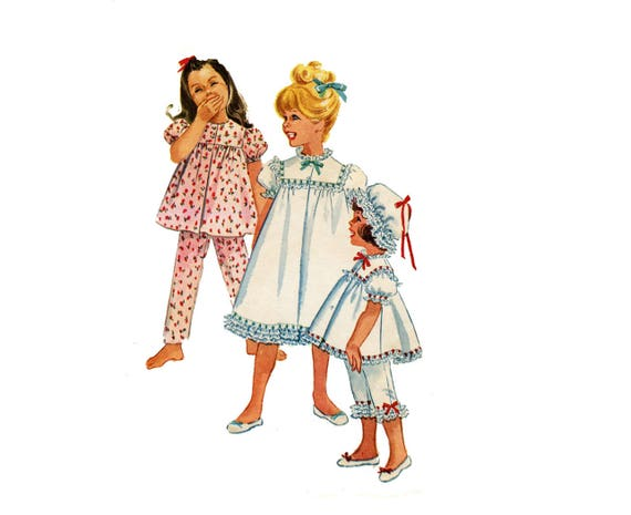1960s Girls Pajamas Pattern With Nightcap Babydoll Summer  adb7d7cc8