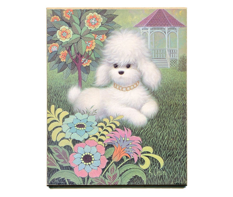 POODLE MOTHER AND PUPPIES CHARMING DOG PRINT MOUNTED READY TO FRAME