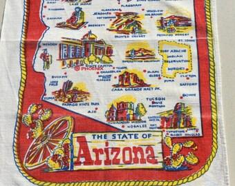 Vintage 1950s Souvenir Towel Arizona Southwestern Kitchen Retro Tea Towel