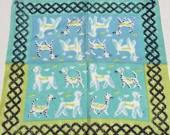 Vintage Tammis Keefe Hankie Poodle Dogs & Tabby Cats Retro Mid Century Animal Lover Gift
