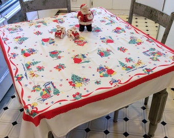 vintage christmas tablecloth victorian christmas w santa in the chimney sleigh rides startex dickens christmas retro kitchen
